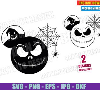 Mickey Jack Skellington Spider Ear (SVG dxf PNG) Nightmare Before Christmas Cut File Silhouette Cricut Vector Clipart - Don Vito Design Store