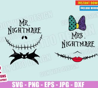 Mr and Mrs Nightmare Bat Bow Tie (SVG dxf PNG) Jack Skellington Sally Doll Couple Halloween Cut File Silhouette Cricut Vector Clipart - Don Vito Design Store