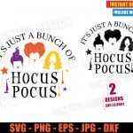 It is Just a Bunch of Hocus Pocus (SVG dxf PNG) Halloween Sanderson Sisters Movie Cut File Silhouette Cricut Vector Clipart T-Shirt 2 Designs DIY