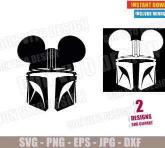 The Mandalorian Mickey Mouse Ears (SVG dxf PNG) Star Wars Helmet Mando Disney Mask Cut File Silhouette Cricut Vector Clipart - Don Vito Design Store