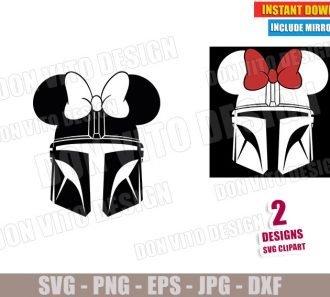The Mandalorian Minnie Mouse Ears (SVG dxf PNG) Star Wars Helmet Mando Disney Mask Cut File Silhouette Cricut Vector Clipart - Don Vito Design Store