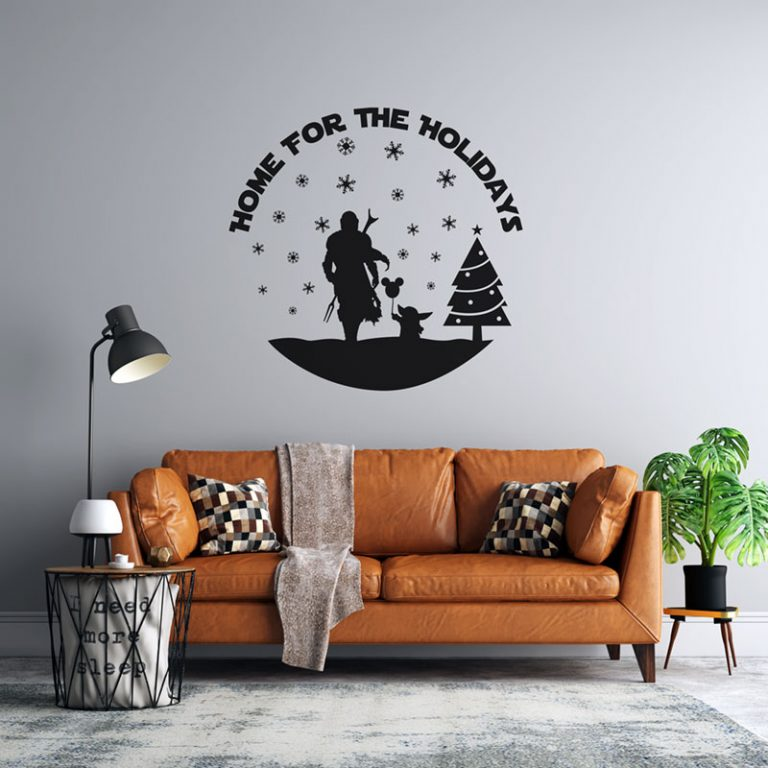 Wall Decal Example - The Mandalorian Home for the Holidays (SVG dxf PNG) Christmas Baby Yoda Cut File Silhouette Cricut Vector Clipart - Don Vito Design Store