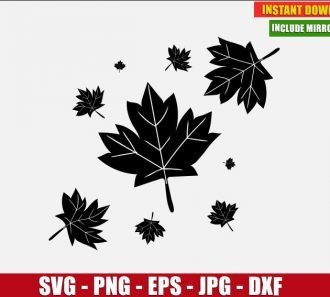 Autumn Leaves Free Cut File (SVG dxf png) Freebie Leaf Fall Clipart for Silhouette Cricut Digital Vector Image - Don Vito Design Store