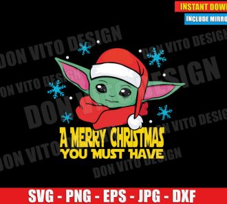 Baby Yoda Santa Hat Christmas (SVG dxf PNG) Star Wars The Mandalorian Cut File Silhouette Cricut Vector Clipart - Don Vito Design Store