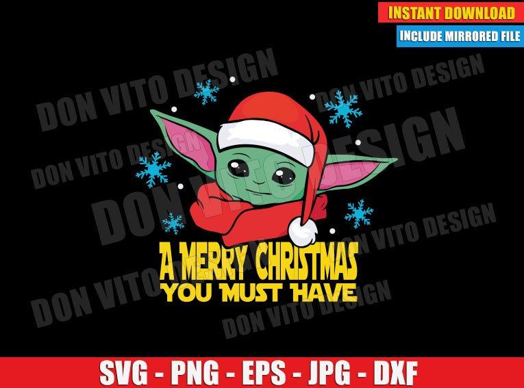 Baby Yoda Santa Hat Christmas (SVG dxf PNG) Star Wars The Mandalorian Cut File Silhouette Cricut Vector Clipart - Don Vito Design Store