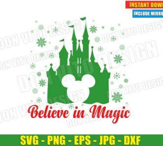 Believe in Magic Disney Castle (SVG dxf png) Christmas Mickey Head Snowflakes Cut File Silhouette Cricut Vector Clipart - Don Vito Design Store