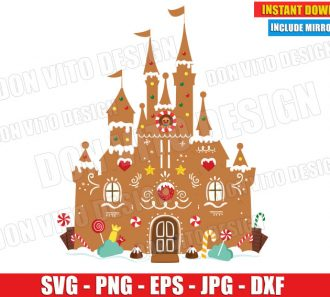 Disney Castle Gingerbread Christmas (SVG dxf png) Mickey Mouse Candy Cane Cut File Silhouette Cricut Vector Clipart - Don Vito Design Store