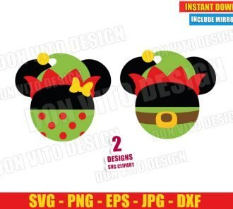 Elf Mickey and Minnie Mouse Ears (SVG dxf png) Disney Christmas Hat Bow Cut File Silhouette Cricut Vector Clipart - Don Vito Design Store