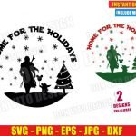 The Mandalorian Home for the Holidays (SVG dxf PNG) Christmas Baby Yoda Cut File Silhouette Cricut Vector Clipart T-Shirt 2 Designs DIY