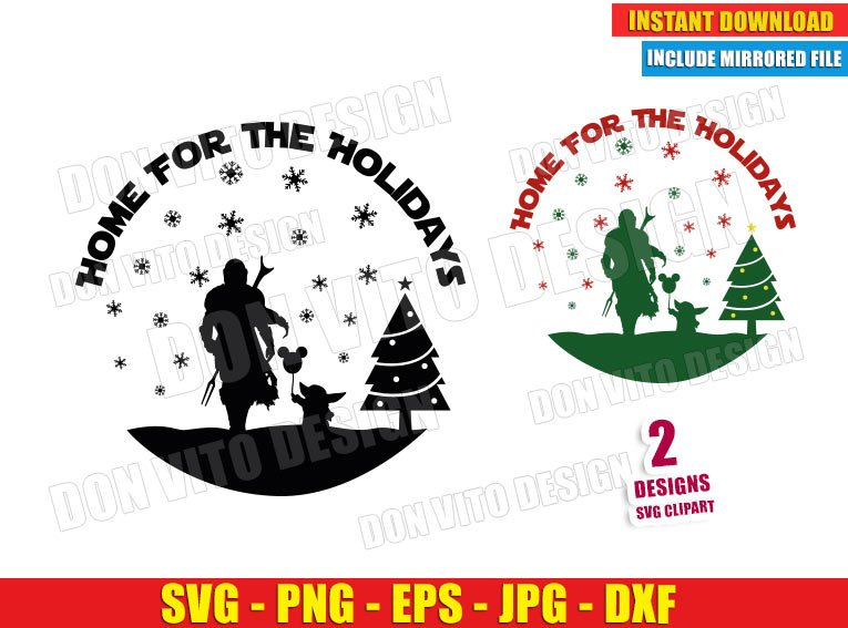 The Mandalorian Home for the Holidays (SVG dxf PNG) Christmas Baby Yoda Cut File Silhouette Cricut Vector Clipart - Don Vito Design Store