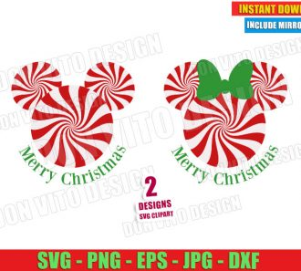 Candy Cane Mickey Minnie Mouse Ears (SVG dxf png) Disney Merry Christmas Cut File Silhouette Cricut Vector Clipart - Don Vito Design Store