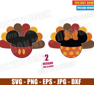 Mickey Minnie Thanksgiving Turkey (SVG dxf png) Disney Pants Bow Feathers Cut File Silhouette Cricut Vector Clipart - Don Vito Design Store