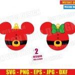 Christmas Ball Mickey Minnie Mouse Santa (SVG dxf png) Disney Head Ears Cut File Silhouette Cricut Vector Clipart T-Shirt 2 Designs DIY