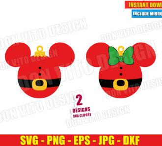 Christmas Ball Mickey Minnie Mouse Santa (SVG dxf png) Disney Head Ears Cut File Silhouette Cricut Vector Clipart - Don Vito Design Store