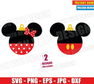 Mickey and Minnie Mouse Christmas Ball (SVG dxf png) Disney Ears Pants Bow Cut File Silhouette Cricut Vector Clipart - Don Vito Design Store