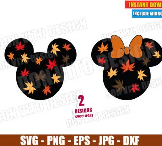 Disney Fall Leaves Head (SVG dxf png) Thanksgiving Mickey Minnie Mouse Bow Cut File Silhouette Cricut Vector Clipart - Don Vito Design Store