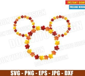 Mickey Mouse Fall Leaves Head (SVG dxf png) Holiday Thanksgiving Disney Wreath Cut File Silhouette Cricut Vector Clipart - Don Vito Design Store