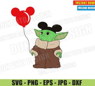 Baby Yoda with Mickey Ears Balloon (SVG dxf PNG) The Mandalorian Disney Trip Cut File Silhouette Cricut Vector Clipart - Don Vito Design Store