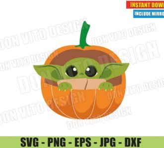 Baby Yoda in Pumpkin Crib (SVG dxf PNG) Star Wars The Mandalorian Thanksgiving Cut File Silhouette Cricut Vector Clipart - Don Vito Design Store