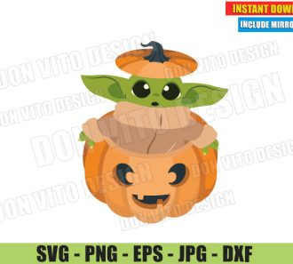 Baby Yoda Rising from a Pumpkin (SVG dxf PNG) The Mandalorian Thanksgiving Cut File Silhouette Cricut Vector Clipart - Don Vito Design Store