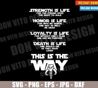 Code of Honor Mandalorian (SVG dxf PNG) Star Wars This is The Way Logo Cut File Silhouette Cricut Vector Clipart - Don Vito Design Store