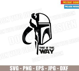 The Mandalorian Helmet Symbol (SVG dxf PNG) Star Wars This is the Way Cut File Silhouette Cricut Vector Clipart - Don Vito Design Store