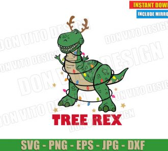 Tree Rex Toy Story Christmas Lights (SVG dxf PNG) Disney Movie Holiday Cut File Silhouette Cricut Vector Clipart - Don Vito Design Store