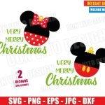 Very Merry Christmas Ball Mickey Minnie (SVG dxf png) Disney Ears Bow Cut File Silhouette Cricut Vector Clipart T-Shirt 2 Designs DIY