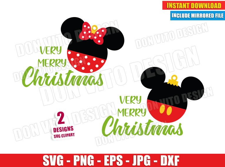 Very Merry Christmas Ball Mickey Minnie (SVG dxf png) Disney Ears Bow Cut File Silhouette Cricut Vector Clipart - Don Vito Design Store