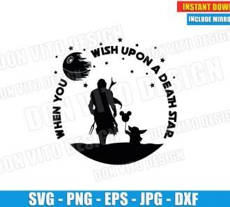 The Mandalorian Baby Yoda Death Star (SVG dxf PNG) Star Wars Mickey Balloon Cut File Silhouette Cricut Vector Clipart - Don Vito Design Store