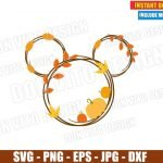 Mickey Mouse Head Pumpkin Fall (SVG dxf png) Disney Thanksgiving Leaves Cut File Silhouette Cricut Vector Clipart T-Shirt Design DIY