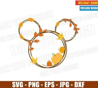 Mickey Mouse Head Pumpkin Fall (SVG dxf png) Disney Thanksgiving Leaves Cut File Silhouette Cricut Vector Clipart - Don Vito Design Store