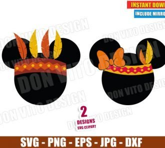 Mickey Minnie Indian Head (SVG dxf png) Disney Thanksgiving Bow Feathers Cut File Silhouette Cricut Vector Clipart - Don Vito Design Store