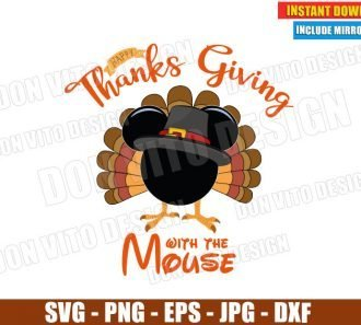 Mickey Turkey Pilgrim Head (SVG dxf png) Happy Thanksgiving with the Mouse Cut File Silhouette Cricut Vector Clipart - Don Vito Design Store