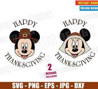 Mickey Minnie Mouse Pilgrim Head (SVG dxf png) Disney Happy Thanksgiving Cut File Silhouette Cricut Vector Clipart - Don Vito Design Store
