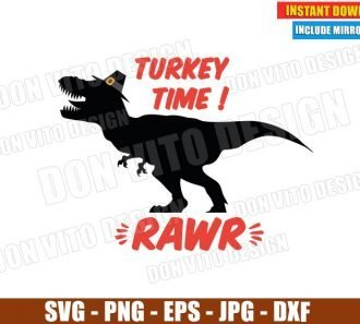 Turkey Time Rawr T-Rex Pilgrim Hat (SVG dxf png) Thanksgiving Fall Holiday Cut File Silhouette Cricut Vector Clipart - Don Vito Design Store