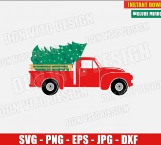 Christmas Truck with Tree (SVG dxf png) Old red Car and Xmas Tree Cut File Silhouette Cricut Vector Clipart - Don Vito Design Store