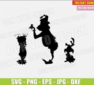 The Grinch Cindy Lou Who and Dog Max (SVG dxf png) Grinch Christmas Movie Holiday Cut File Silhouette Cricut Vector Clipart - Don Vito Design Store