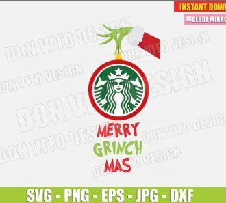Starbucks Merry Grinchmas (SVG dxf png) The Grinch Santa Hand Christmas Tree Ball Cut File Silhouette Cricut Vector Clipart - Don Vito Design Store
