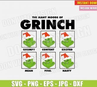 The Many Moods of the Grinch (SVG dxf png) Christmas Movie Face Grumpy Foul Nasty Cut File Silhouette Cricut Vector Clipart - Don Vito Design Store