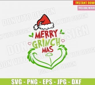 Merry Grinchmas Santa Hat Grinch Smile (SVG dxf png) The Grinch Christmas Movie Cut File Silhouette Cricut Vector Clipart - Don Vito Design Store