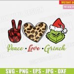 Peace Love Grinch Face (SVG dxf png) Hand Buffalo Plaid Heart Leopard Print The Grinch Cut File Silhouette Cricut Vector Clipart T-Shirt Design DIY