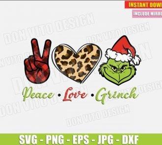 Peace Love Grinch Face (SVG dxf png) Hand Buffalo Plaid Heart Leopard Print The Grinch Cut File Silhouette Cricut Vector Clipart - Don Vito Design Store