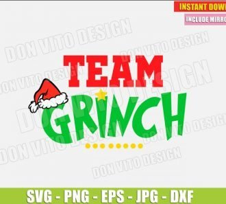 Team Grinch (SVG dxf png) The Grinch Christmas Movie Holiday Santa Hat Cut File Silhouette Cricut Vector Clipart - Don Vito Design Store