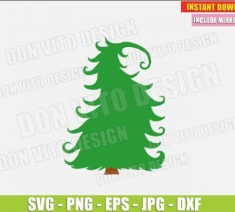 Grinch Christmas Tree Whoville (SVG dxf png) The Grinch Movie Silly Curvy Xmas Tree Cut File Silhouette Cricut Vector Clipart - Don Vito Design Store