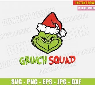 The Grinch Squad (SVG dxf png) Grinch with Santa Hat Christmas Cut File Silhouette Cricut Vector Clipart - Don Vito Design Store