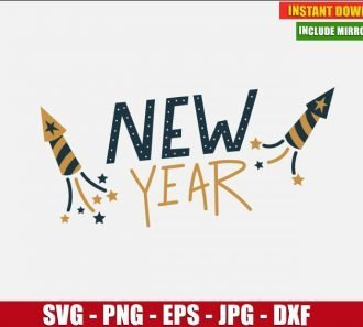 New Year Eve Fireworks SVG Free Cut File for Cricut and Silhouette Freebie Clipart Vector PNG Image Download Free SVG Design - Don Vito Design Store