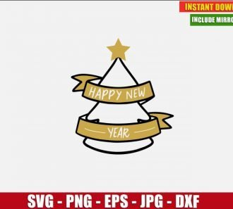 New Year Christmas Tree SVG Free Cut File for Cricut and Silhouette Freebie Clipart Vector PNG Image Download Free SVG Design - Don Vito Design Store