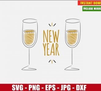 New Year Glasses of Champagne SVG Free Cut File for Cricut and Silhouette Freebie Clipart Vector PNG Image Download Free SVG Design - Don Vito Design Store