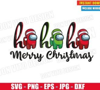 Among Us Ho Ho Ho Merry Christmas (SVG dxf png) Santa Hat Impostor or Crewmate Cut File Silhouette Cricut Vector Clipart - Don Vito Design Store